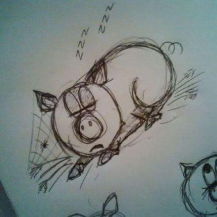 Judi Castille pig drawing