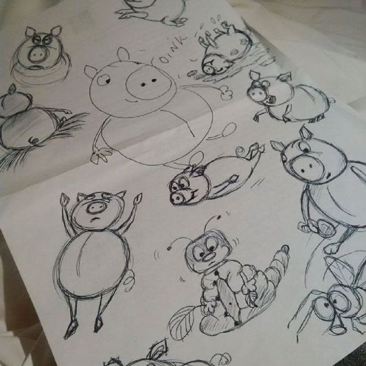 Judi castille doodles and sketches of pigs