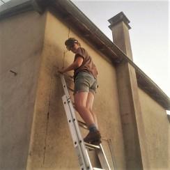 Judi Castille Up a Ladder