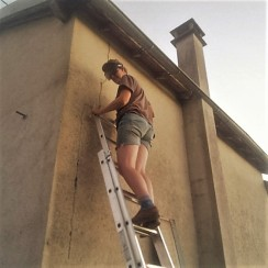 Judi Castille Up a Ladder