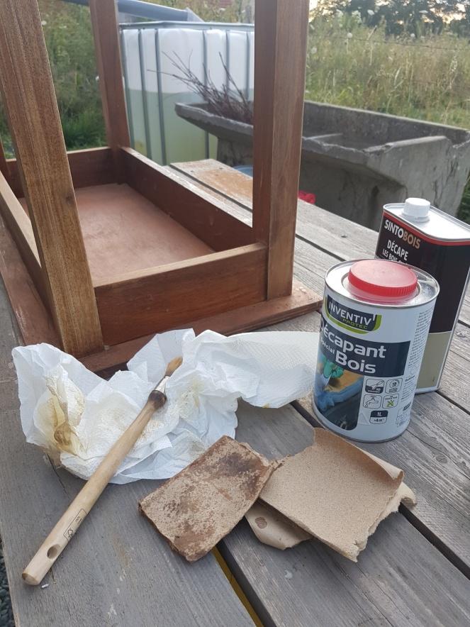 Judi Castille renovating a table